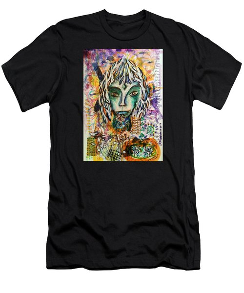 Men's T-Shirt (Slim Fit) featuring the mixed media Elf by Mimulux patricia no No