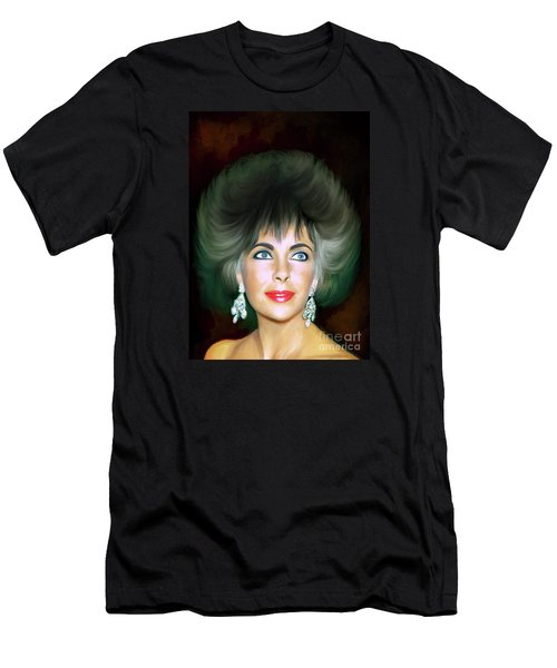Men's T-Shirt (Slim Fit) featuring the painting Elizabeth 2 by Andrzej Szczerski