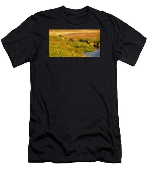Elk In The Wild Flowers Men's T-Shirt (Athletic Fit)