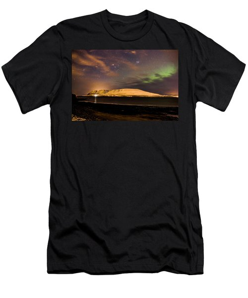 Elv Or Troll And Viking With A Sword In The Northern Light Men's T-Shirt (Athletic Fit)