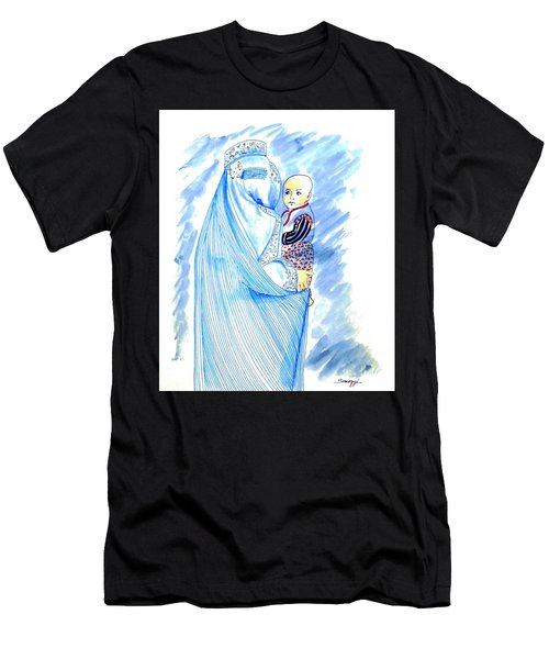 Embroidered Blue Lady-cage -- Woman In Burka Men's T-Shirt (Athletic Fit)