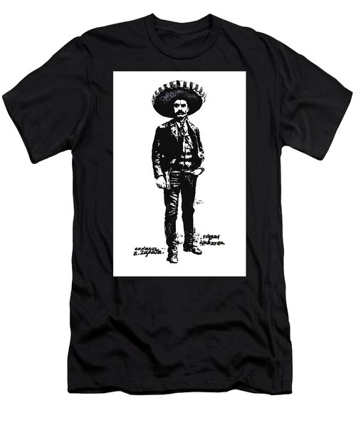 Men's T-Shirt (Slim Fit) featuring the drawing Emiliano Zapata by Antonio Romero