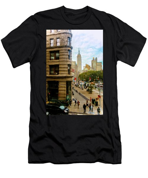 Men's T-Shirt (Slim Fit) featuring the photograph Empire State Building - Crackled View by Madeline Ellis