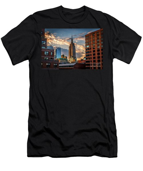 Empire State Building Sunset Rooftop Men's T-Shirt (Athletic Fit)