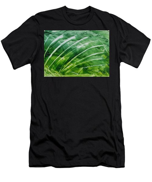 Encaustic Abstract Green Fan Foliage Men's T-Shirt (Athletic Fit)