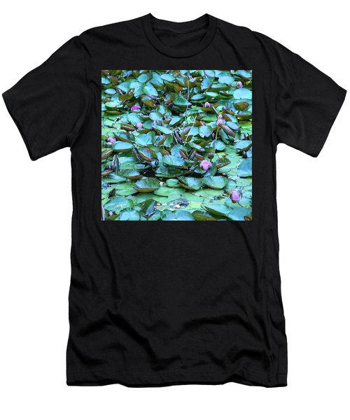 Men's T-Shirt (Slim Fit) featuring the photograph Painted Water Lilies by Theresa Tahara