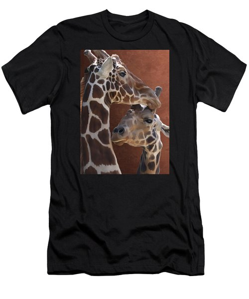 Endearing Giraffes Men's T-Shirt (Athletic Fit)