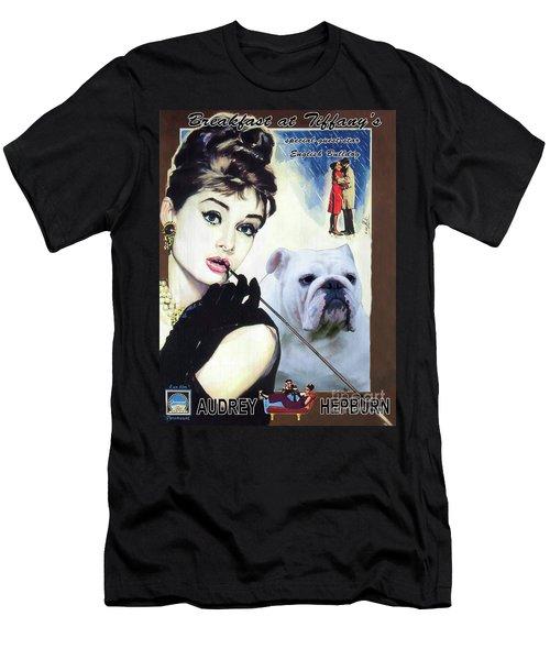 English Bulldog Art Canvas Print - Breakfast At Tiffany Movie Poster Men's T-Shirt (Athletic Fit)