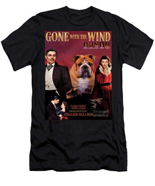 English Bulldog Art Canvas Print - Gone To The Wind Movie Poster Men's T-Shirt (Athletic Fit)