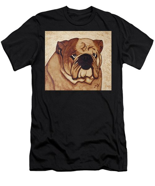 English Bulldog Coffee Painting Men's T-Shirt (Athletic Fit)