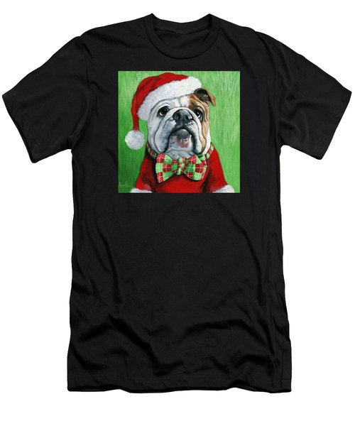 Holiday Cheer -english Bulldog Santa Dog Painting Men's T-Shirt (Athletic Fit)