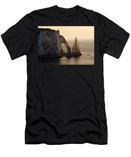 Men's T-Shirt (Athletic Fit) featuring the photograph Etretat In Morning Sun by Jaroslaw Blaminsky