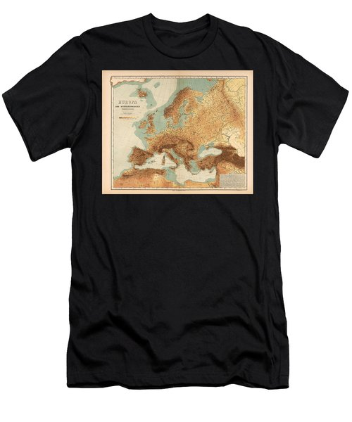 Europe - Geological Map Showing Land And Water Resources - Historical Map - Antique Relief Map Men's T-Shirt (Athletic Fit)