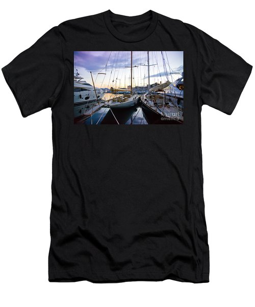 Men's T-Shirt (Athletic Fit) featuring the photograph Evening At Harbor  by Ariadna De Raadt
