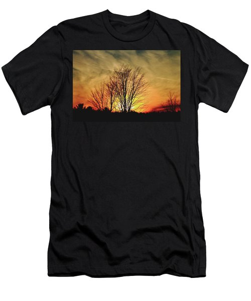 Men's T-Shirt (Slim Fit) featuring the photograph Evening Fire by Bruce Patrick Smith