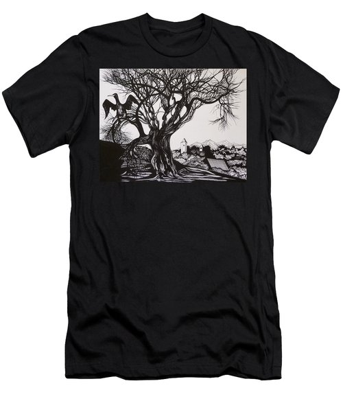 Men's T-Shirt (Slim Fit) featuring the drawing Evening In Midnapore by Anna  Duyunova