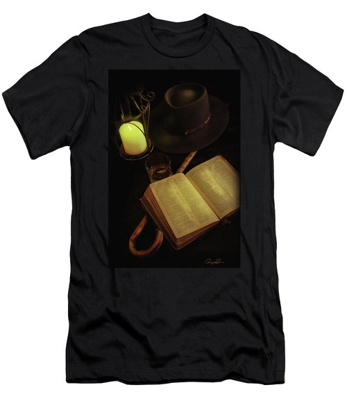 Men's T-Shirt (Slim Fit) featuring the photograph Evening Reading by Ann Lauwers