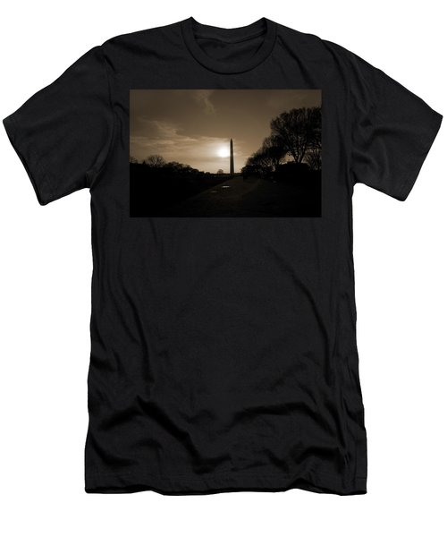 Evening Washington Monument Silhouette Men's T-Shirt (Slim Fit) by Betsy Knapp