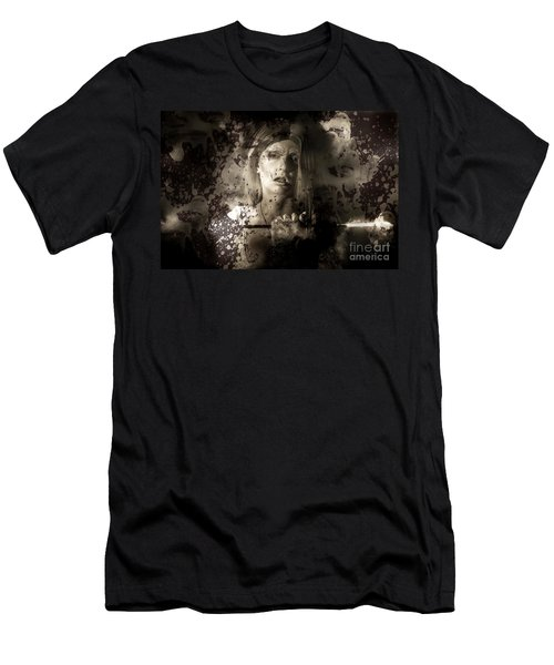 Evil Vampire Woman Looking Into Bloody Mirror Men's T-Shirt (Athletic Fit)