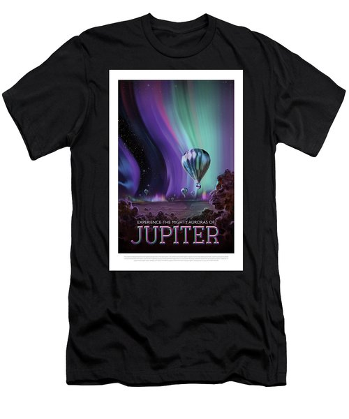 Experience The Mighty Auroras Of Jupiter - Vintage Nasa Poster Men's T-Shirt (Athletic Fit)