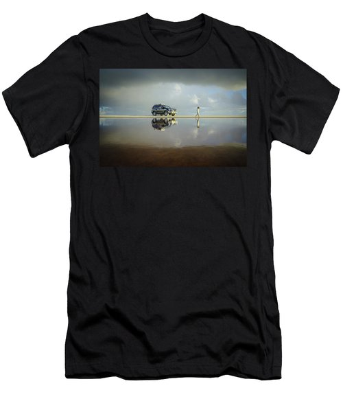 Exploring The Beach On A Rainy Day Men's T-Shirt (Athletic Fit)