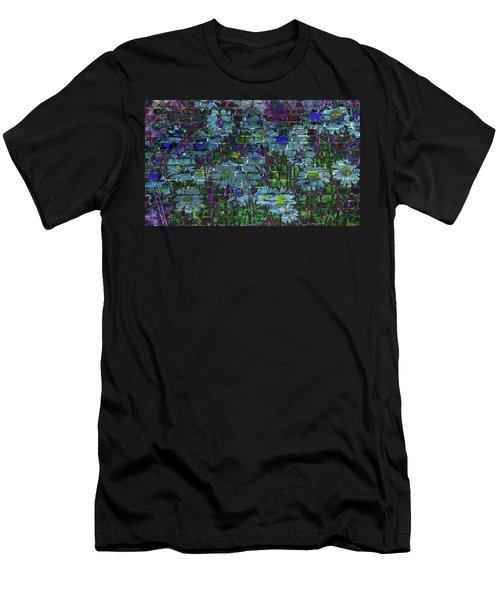 Extraordinary Blue Daisies Graffiti On A Brick Wall Men's T-Shirt (Athletic Fit)