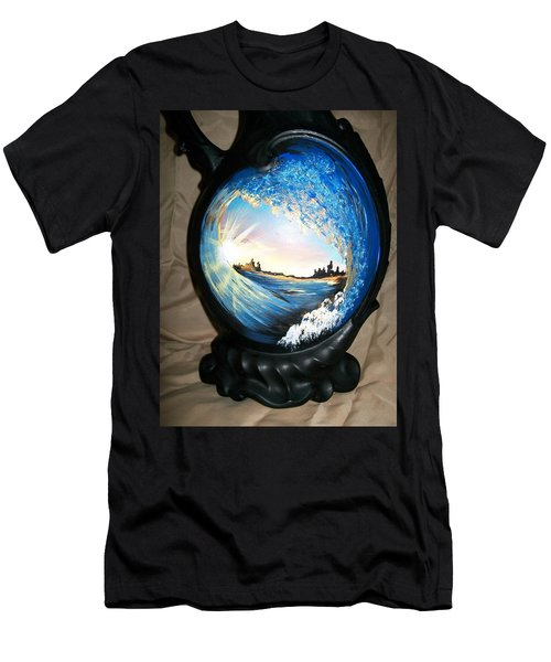 Men's T-Shirt (Slim Fit) featuring the painting Eye Of The Wave 1 by Sharon Duguay