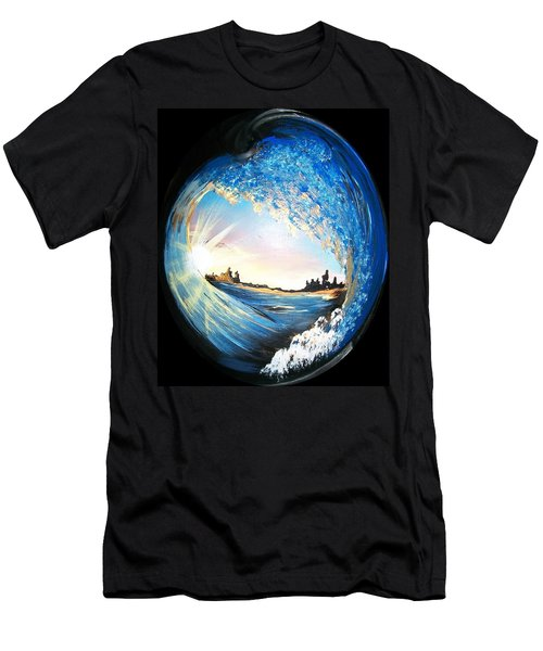 Men's T-Shirt (Slim Fit) featuring the painting Eye Of The Wave by Sharon Duguay
