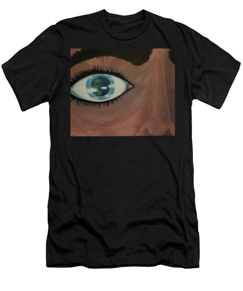 Men's T-Shirt (Slim Fit) featuring the painting Eye Of The World by Thomas Blood