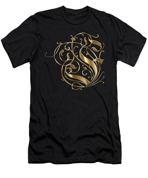 F Ornamental Letter Gold Typography Men's T-Shirt (Athletic Fit)