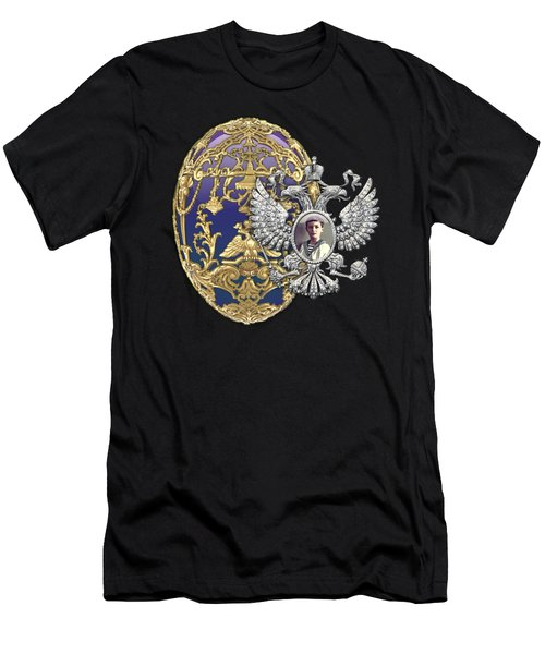 Faberge Tsarevich Egg With Surprise On Red Velvet Men's T-Shirt (Athletic Fit)