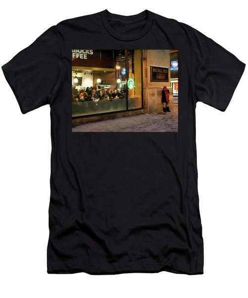 Men's T-Shirt (Slim Fit) featuring the digital art Faces At The Coffeehouse by Chris Flees