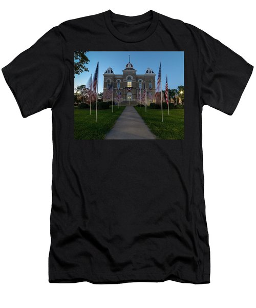 Fairbury Nebraska Avenue Of Flags - September 11 2016 Men's T-Shirt (Slim Fit) by Art Whitton