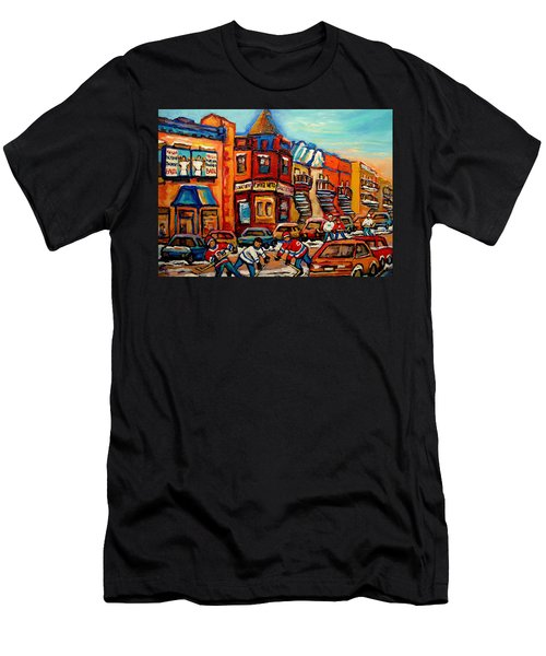 Fairmount Bagel With Hockey Men's T-Shirt (Athletic Fit)