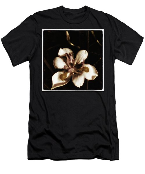 Men's T-Shirt (Athletic Fit) featuring the photograph Fairy Iris. A Butterfly Landed On My by Mr Photojimsf