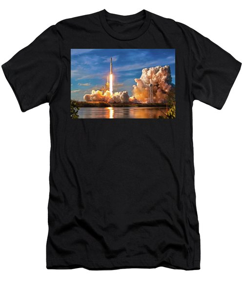 Men's T-Shirt (Athletic Fit) featuring the photograph Falcon Heavy Rocket Launch Spacex by SpaceX