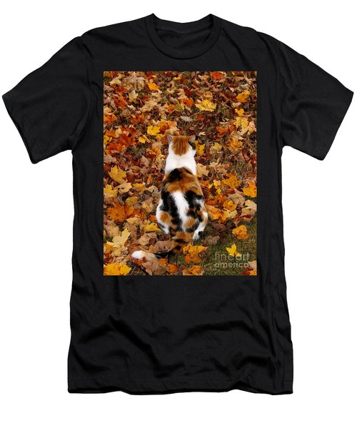 Fall Catitude  Men's T-Shirt (Slim Fit) by Christy Ricafrente