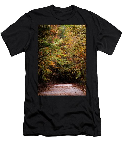 Men's T-Shirt (Slim Fit) featuring the photograph Fall Colors On The Trail by Shelby Young
