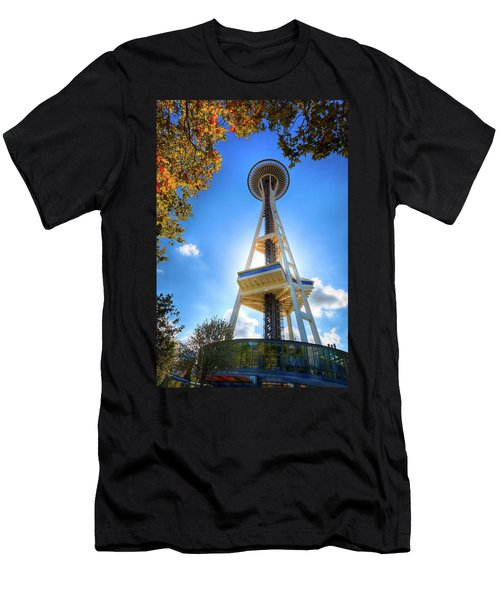 Fall Day At The Space Needle Men's T-Shirt (Slim Fit) by David Patterson