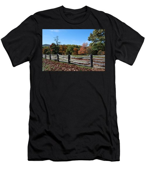 Men's T-Shirt (Slim Fit) featuring the photograph Fall Fence by Eric Liller