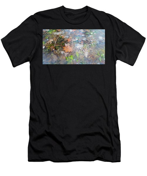 Fall Leaves In A Frozen Puddle Men's T-Shirt (Athletic Fit)