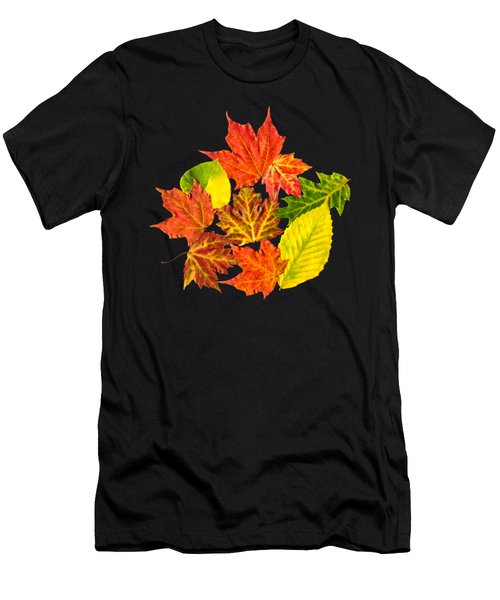 Fall Leaves Pattern Men's T-Shirt (Athletic Fit)