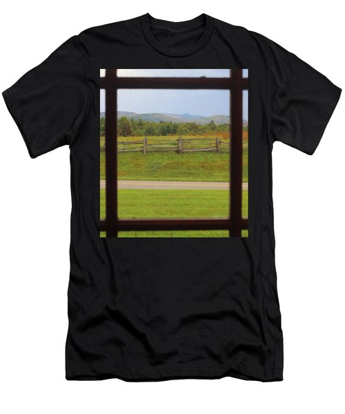 Fall Mountains Through The Window  Men's T-Shirt (Athletic Fit)
