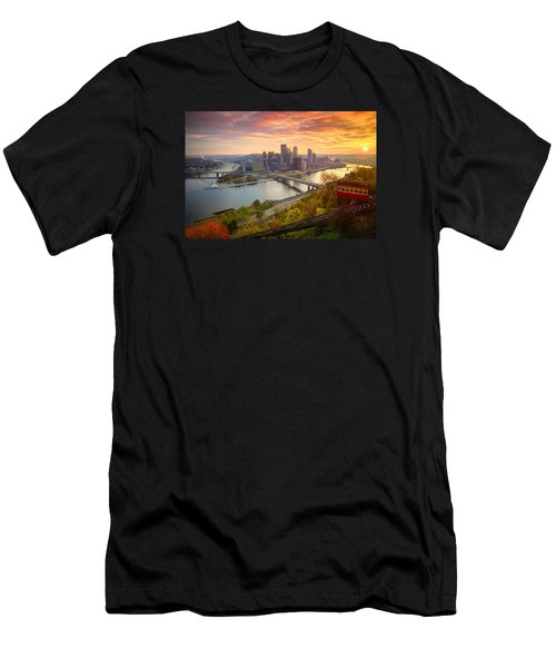 Fall Pittsburgh Skyline  Men's T-Shirt (Slim Fit) by Emmanuel Panagiotakis