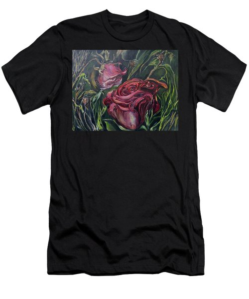 Men's T-Shirt (Slim Fit) featuring the painting Fall Roses by Nadine Dennis