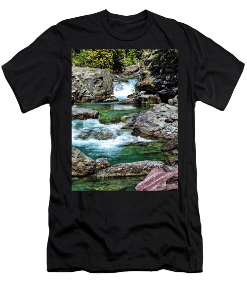 Falls Above Lake Mc Donald Men's T-Shirt (Athletic Fit)