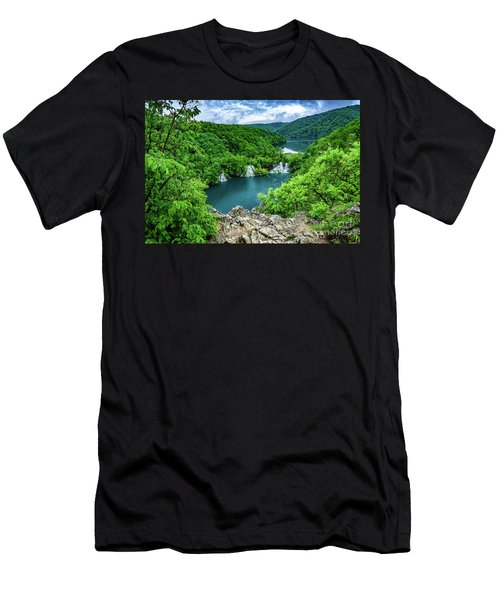 Falls From Above - Plitvice Lakes National Park, Croatia Men's T-Shirt (Athletic Fit)