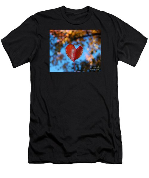 Men's T-Shirt (Slim Fit) featuring the photograph Fall's Heart by Debra Thompson