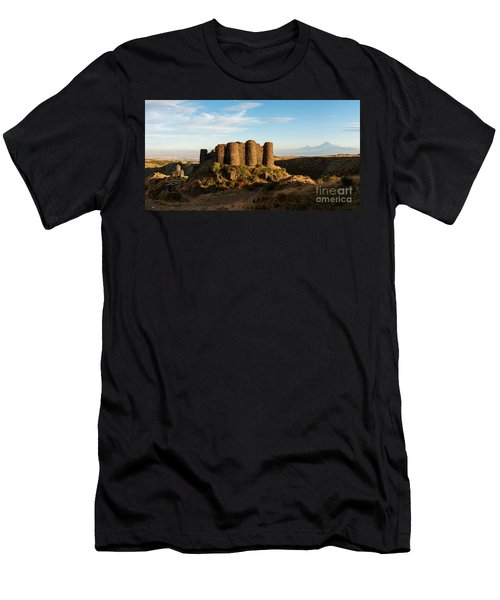 Famous Amberd Fortress With Mount Ararat At Back, Armenia Men's T-Shirt (Slim Fit) by Gurgen Bakhshetsyan
