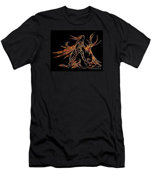 Men's T-Shirt (Slim Fit) featuring the drawing Fancy Flight On Fire by Jamie Lynn